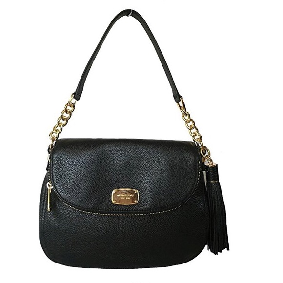NWT! MICHAEL KORS BEDFORD BLACK LEATHER MD SATCHEL CROSSBODY